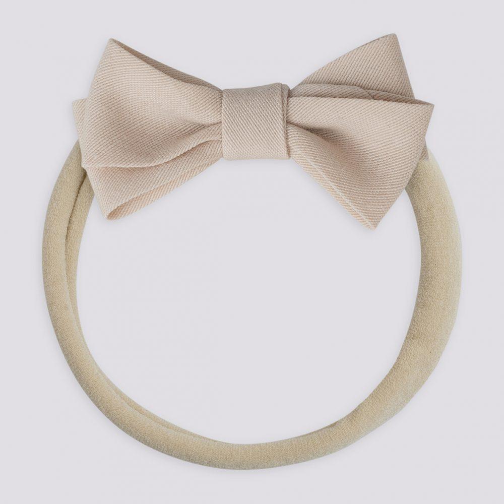 Fabric Petit Bow Hairband-Powder