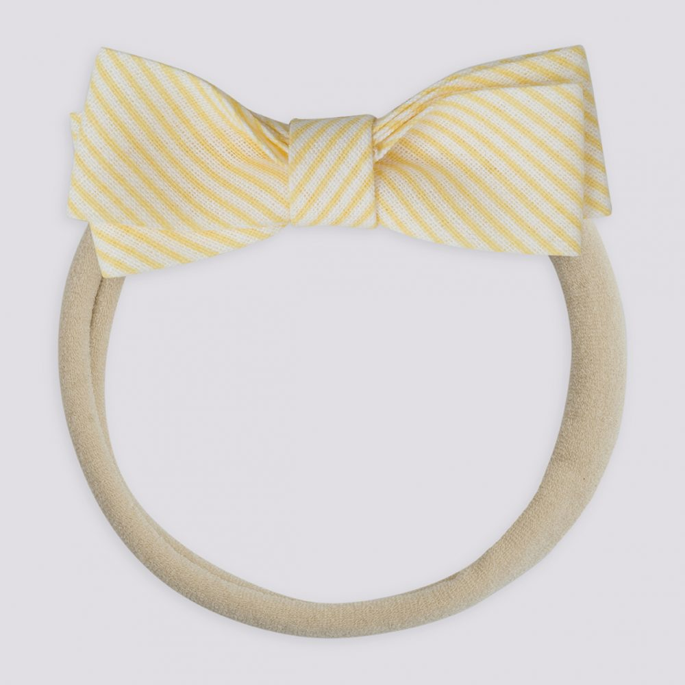Fabric Petit Bow Hairband-Yellow Striped